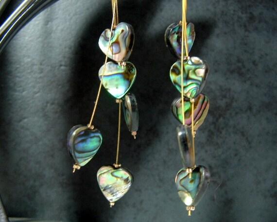 Paua Shell (New Zealand Abalone)  Heart Shaped Long Earrings