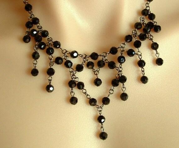Dark Glamour Necklace with Swarovski Jet Crystals, in Gunmetal finish