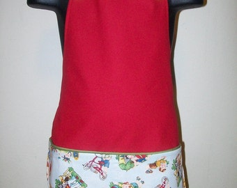 Red 50's style Pocket Apron for Boys Size (4-6)