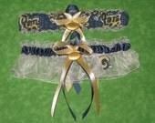 Handmade wedding garters keepsake and toss St. Louis Rams wedding garter set