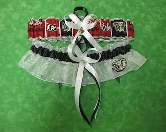 Handmade wedding garters keepsake and toss UNIVERSITY OF ALABAMA wedding garter set