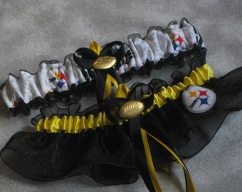 Handmade wedding garters keepsake and toss Pittsburgh STEELERS wedding garter set