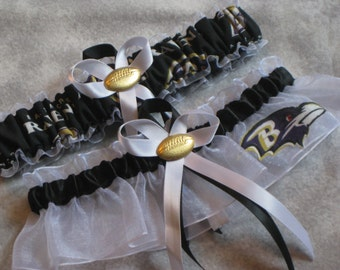 Handmade wedding garters keepsake and toss Baltimore RAVENS wedding garter set