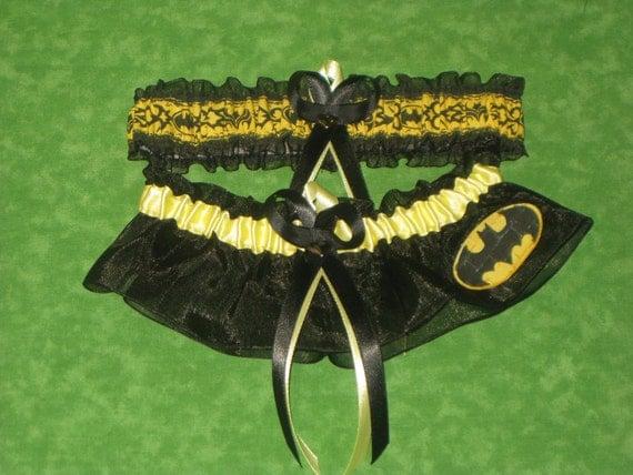 Handmade wedding garters keepsake and toss BATMAN wedding garter set on black