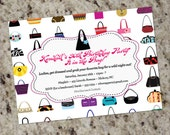 HANDBAGS GALORE - Purse themed Invitations - Any Occasion - Printable