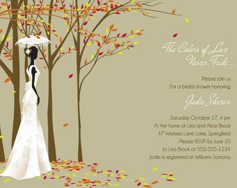 Fall in Love - Autumn themed Bridal Shower Invitations - Print Your Own