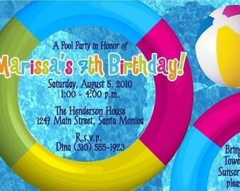 POOL PARTY - Custom Invitations - Summer / Swimming / Birthday Party