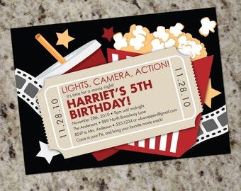 Movie Birthday Party Invitation | Movie Night Party Invitations | Movie Theme | Printable | Outdoor Movie Party | Kids Movie Party
