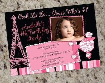 Pink Poodle Paris Birthday Party Invitation - Printable
