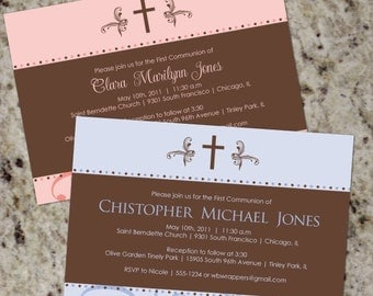 Bold Brown - Elegant First Communion Invitations - Print Your Own