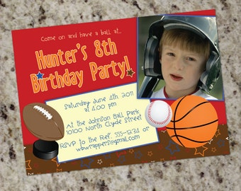Sports - All-Star - MVP - Boys' Birthday Party Invitations - Print Your Own