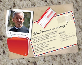 Travel Themed Invitations - Great for Retirement, Birthday - Print Your Own