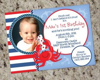 Crab Themed Birthday Invitation - Any age - Printable Design
