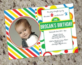 SESAME STREET Inspired Birthday invitations - Printable Design - Customized with your photo - Digital, DYI - You Print
