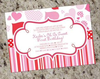 Valentines Themed Invitations - Pink and Red - Printable Design