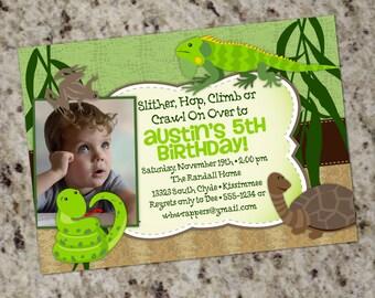 Reptile Themed Birthday Party Invitation - Printable Design - KID50