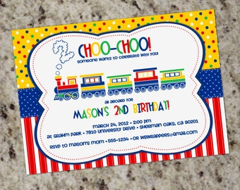 Colorful TRAIN - Birthday Party Invitations - Printable Design - Primary Colors