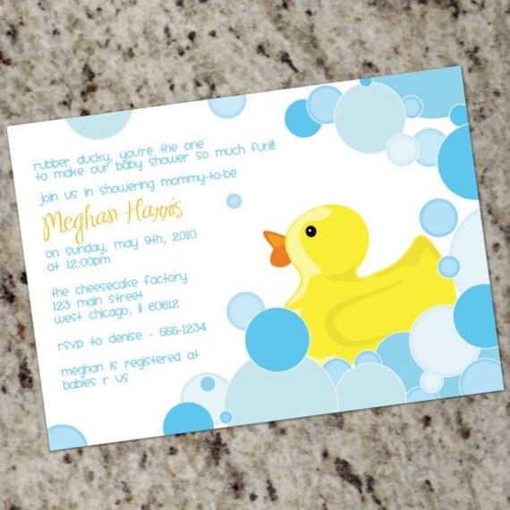 custom baby shower invitations rubber duckie print your own