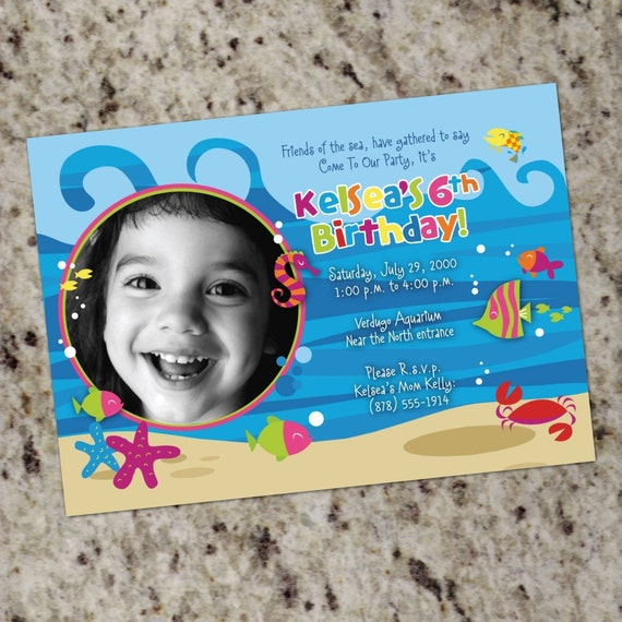 Under the sea ocean tropical fish birthday invitations for Pool designs under 50 000