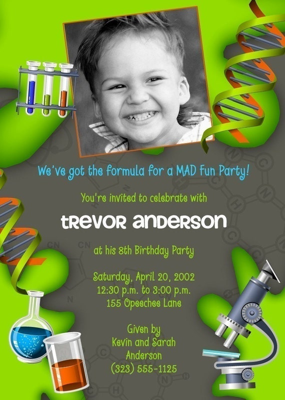 FORMULA FOR FUN - Science Scientist - Boy (or Girl)  Custom Photo Party Invitation