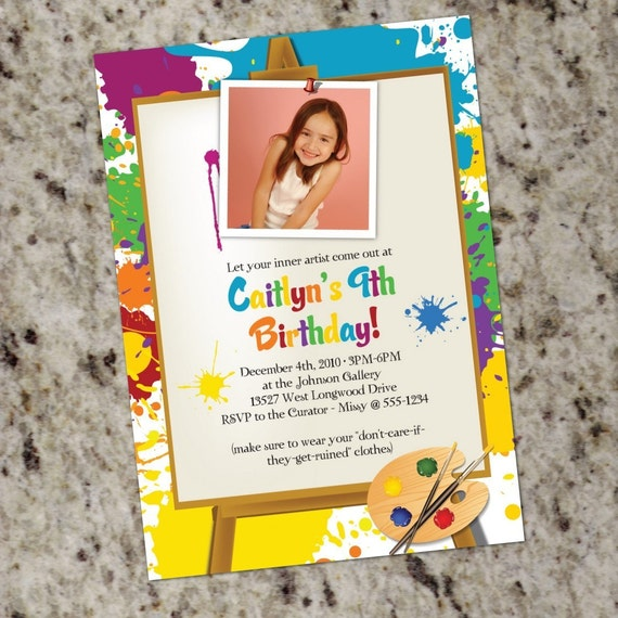 LITTLE ARTIST Art Painting Birthday Party Invitations – Painting Birthday Invitations