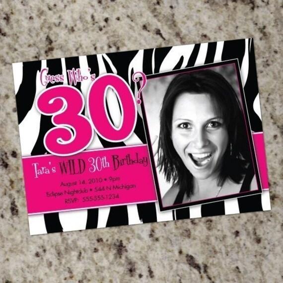 Zebra Hot Pink Birthday Party Photo Invitations