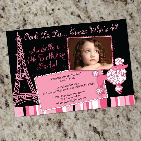 Pink Poodle Paris Birthday Party Invitation - Printable