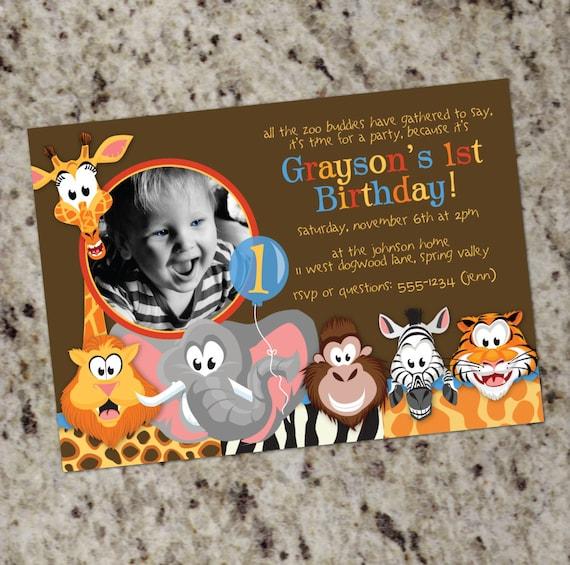 Zoo Animals - Wild Animals Photo Birthday Invitations - Print Your Own - KID30