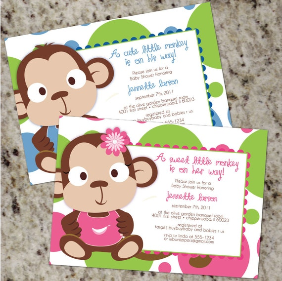 Little Monkey Cute Colorful Baby Shower Invitations BOY Or