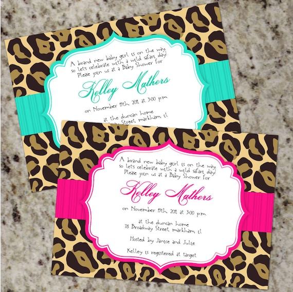 Chic LEOPARD Invitations - Baby Shower or any Occassion - Printable Design