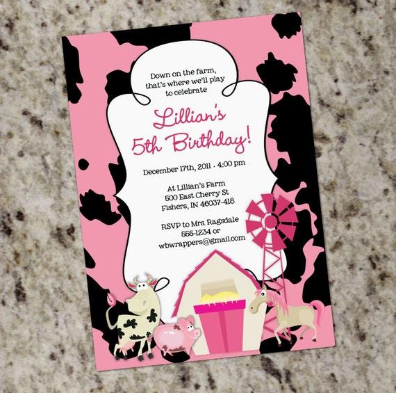 GIRLY FARM Themed Birthday Party Invitation Printable Design – Girly Party Invitations