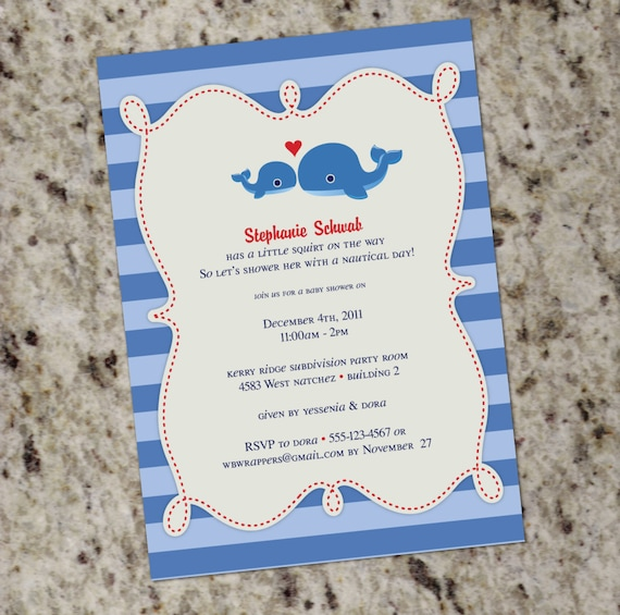 sweet whale themed baby shower or birthday invitation printable