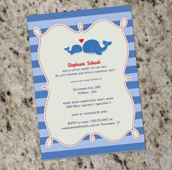Sweet Whale Themed Baby Shower Or Birthday Invitation