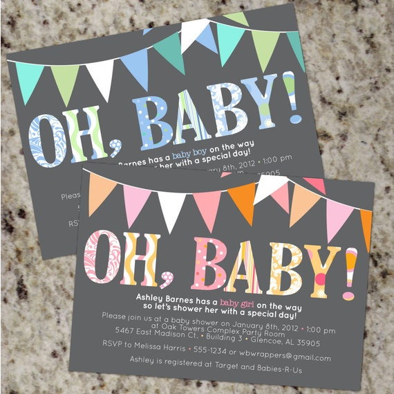 OH BABY - Mod Baby Shower Invitations - Boy or Girl or Your colors - Printable Design - BAB28