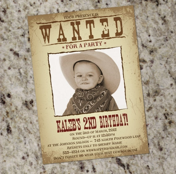wanted poster western themed party invitation printable. Black Bedroom Furniture Sets. Home Design Ideas