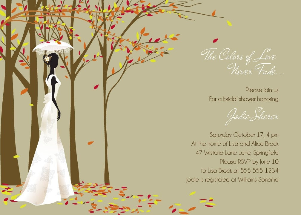 Fall Themed Bridal Shower Invitations Fall in Love Modern