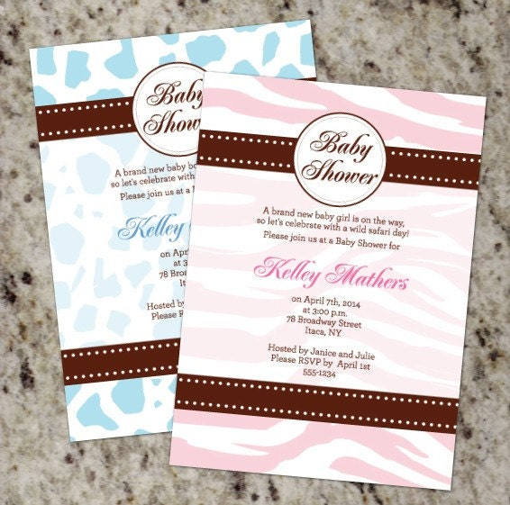 leopard print invitations templates - pink animal print invitations
