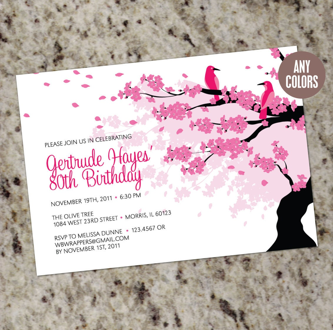 CHERRY BLOSSOM Birthday Invitation Printable Design with – Japanese Birthday Invitations