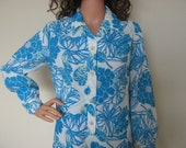 Memorial Day Sale Vintage Shirt-Dress in White and Teal