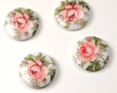 8 pcs Pink Rose White Flower glass round cabochons  10 mm