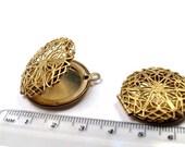 1 pcs Raw Brass Round Filigree Locket Pendants