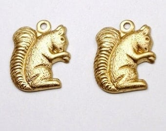 6 pcs Raw Brass Squirrel charms Stampings Pendants