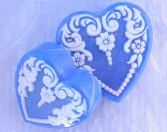 Blue Wedgewood Victorian Heart Soap