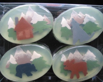 Men's Handmade Woodland Cedar & Fir Soaps with Moose, Bear, Wolf, and Log Cabin 3-dimensionally layered soap art