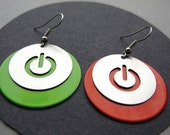 Shutdown / power computer button earrings - made of stainless steel and colored aluminium
