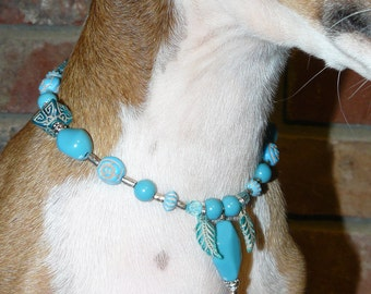 Italian Greyhound, Turquoise Dog Necklace Collar, Great Dog Gift, Fits 8' to 11' neck. (20004) Min Poodle, Min Pin, Schnauzer, terrier,