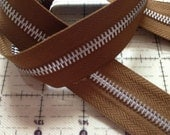 BROWN Zipper w/ Silver or Aluminum Teeth By the Yard - 3 yards