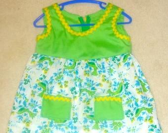 Summer Dress 9 months Green and Birds