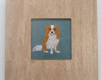 Cavalier King Charles Dog Portrait, Hand-Embroidered and Framed
