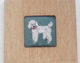 Poodle Dog Portrait Embroidered Framed
